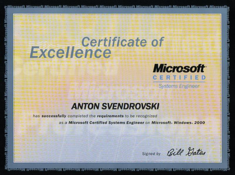 Exam #240 Microsoft Windows 2000 Accelerated Exam For MCPs Certified On  Microsoft Windows NT 4.0  Microsoft Certificate Of Excellence